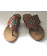 NEW! Lucky Brand Tan Leather Like LP-BREESE Studded Sandals 9.5 B $118 - $34.80