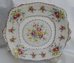 ROYAL ALBERT PETIT POINT CAKE PLATE HANDLES SQUARE ROSES ENGLAND BONE CHINA - $33.62