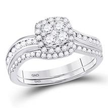 14kt White Gold Round Diamond Bridal Wedding Engagement Ring Band Set 3/4 Ctw - $1,199.00