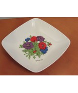 "Georges Briard Anemone 7"" Bowl  Plate Purple Red Blue Flowers  - $14.95"