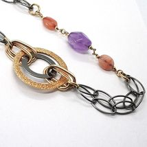 925 Silver Necklace, Burnished and Pink, Circles, Amethyst, Agate, Length 100 cm image 4