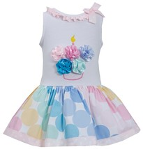 Bonnie Jean Little Girl 2T-4T Multicolor Bias Dot Print Birthday Cupcake Dress