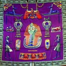 Hermes Rare TOUTANKHAMON 100% Silk Egyptian Scarf Purple - $363.83