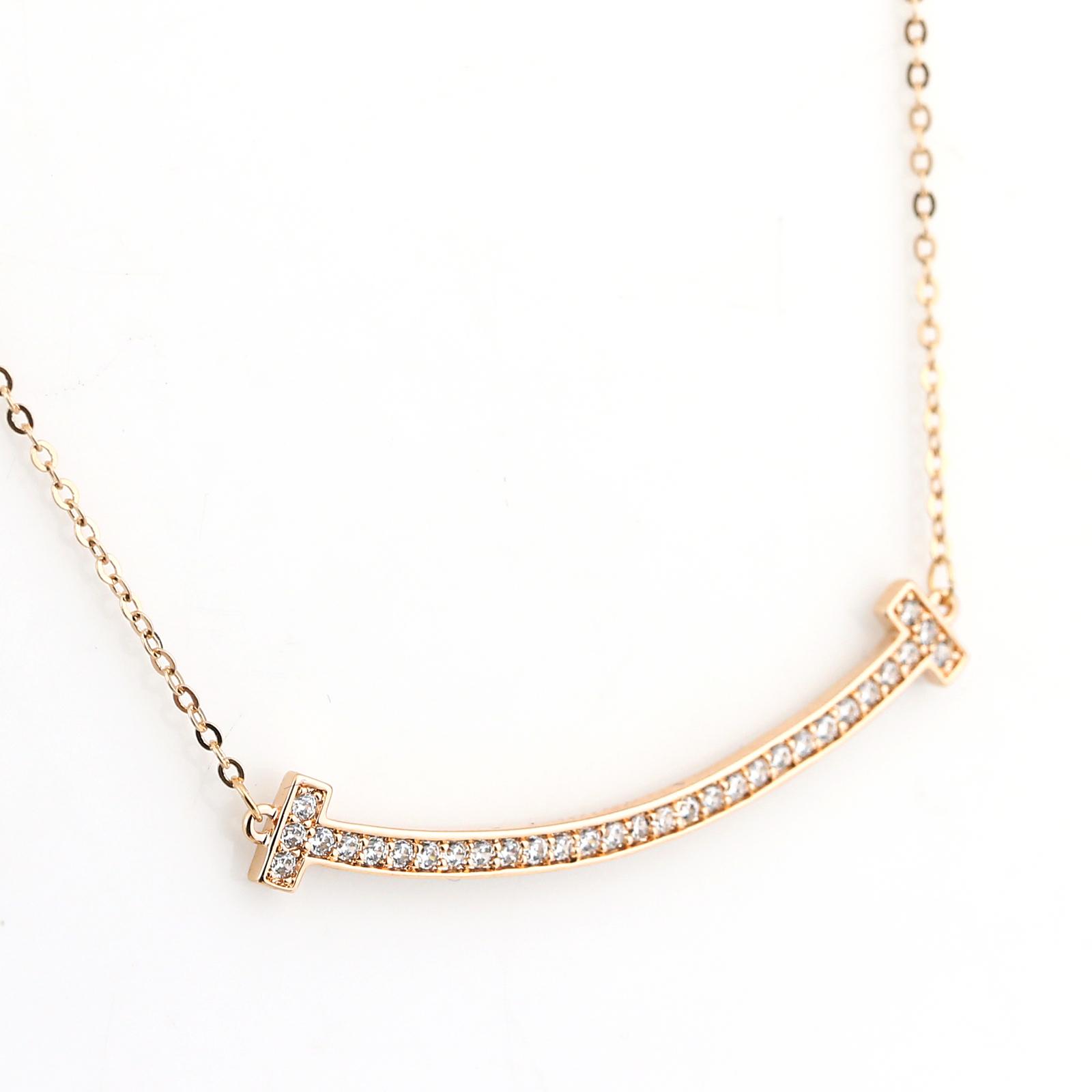 UE- Sleek Rose Tone Designer Bar Necklace With Pave Set Swarovski Style Crystals image 4