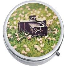 Old Camera Flowers Medicine Vitamin Compact Pill Box - $9.78