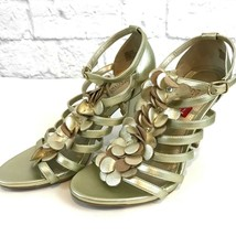 Kenneth Cole Reaction Know Show Light Gold Heels 7.5 M Shoes Strappy NWOB  - $31.75