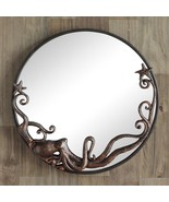 Octopus Cast Iron Round Wall Mirror Art Coastal Nautical Beach Decor,22''D - $150.00