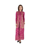 Ira Soleil viscose stretched lycra long kurta with gold print - $49.99