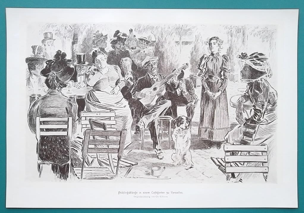 Primary image for PARIS CAFE in Spring Lady Sings Guitar Music Dog Visitors- VICTORIAN Era Print