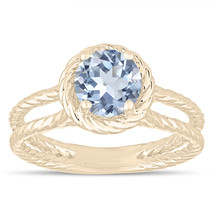 Blue Aquamarine Solitaire Engagement Ring Rope Design 0.85 Carat 14k Yel... - $1,100.00