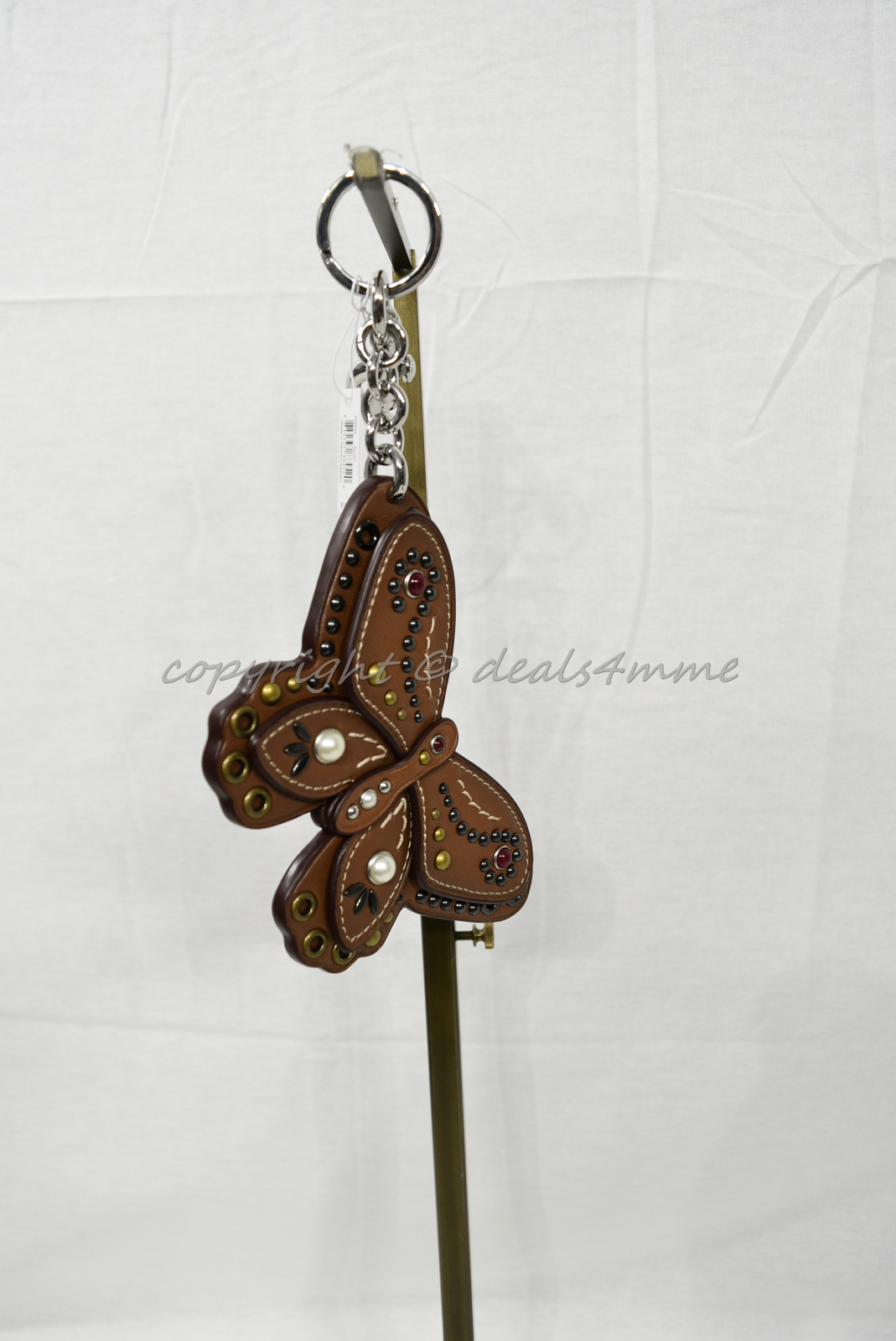 Coach F58996 /F58997 Studded Leather Butterfly Keyring/Key-Clip/ Bag Charm Brown image 4