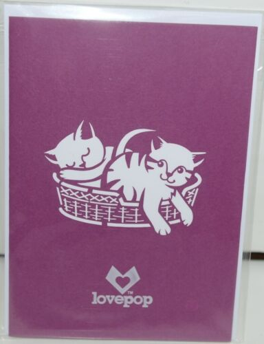 Lovepop LP1153 Cat Family Pop Up Card White Envelope Cellophane Wrapped