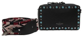 New $2145 Valentino Guitar Rockstud Rolling Leather Black Clutch Messeng... - $1,860.04
