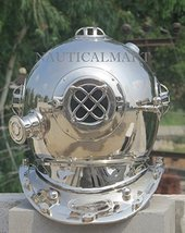 "NauticalMart 18"" U.S Navy Mark V Chrome Finish Sea Diving Divers Helmet - $299.00"