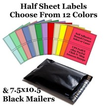 7.5x10.5 Black Mailers + 8.5x5.5 Color Half Sheet Self Adhesive Shipping... - $2.99+