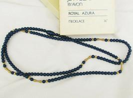 "Avon Royal Azura necklace blue navy plastic beads 36"" new in box - $6.44"