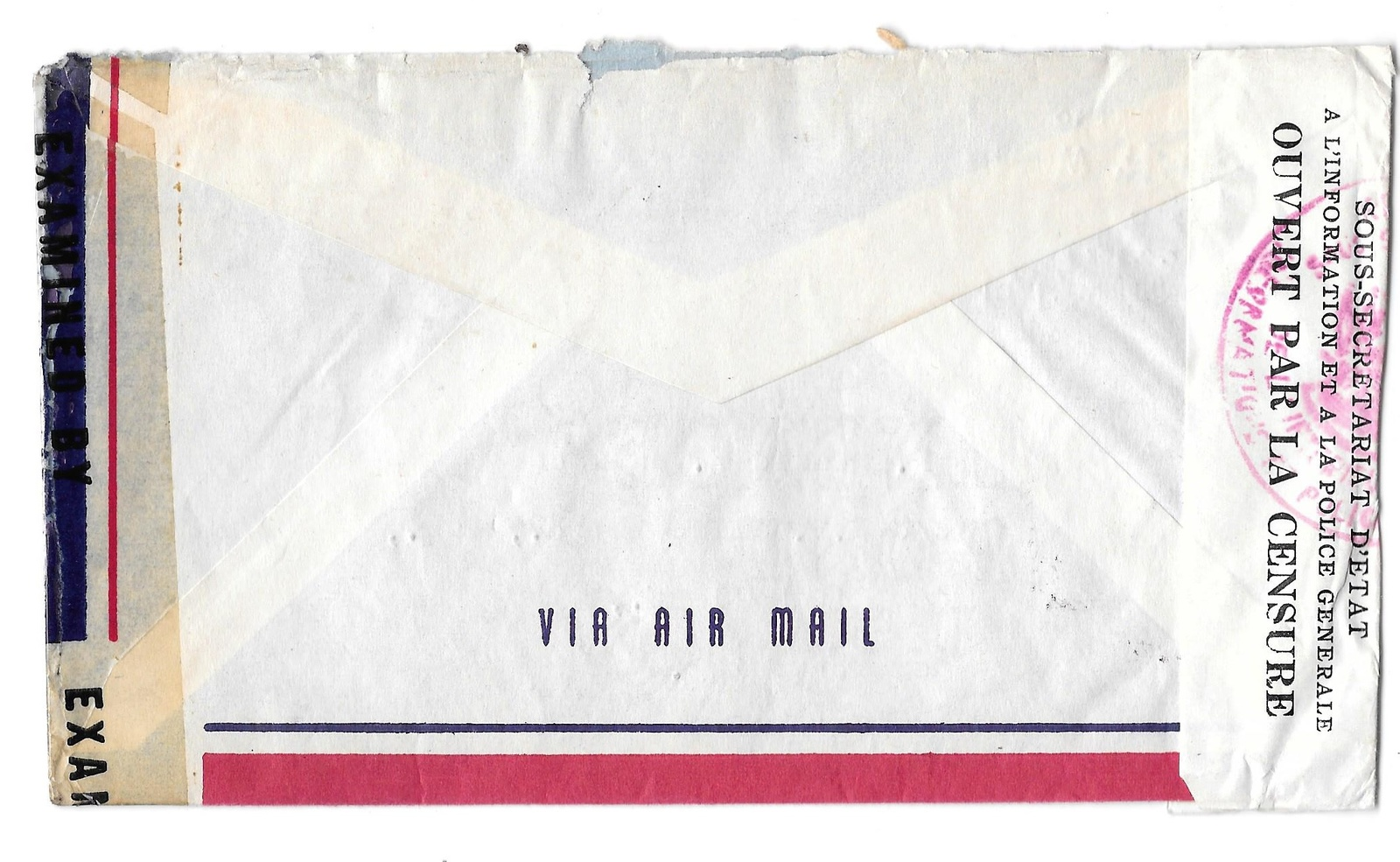Haiti 1943 Double Censored Air Mail Cover Port au Prince to US Sc C8A 343