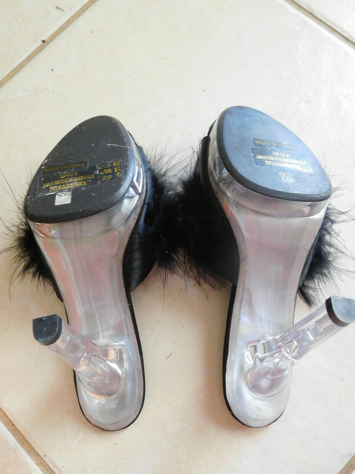 Shoes PLEASER LIP101-8 Womens Black Marabou Feather Mules Clear Heel Sz 8 NIB