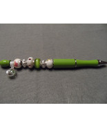 Fancy Handcrafted lime green beaded ballpoint ink writing pen  - $24.00