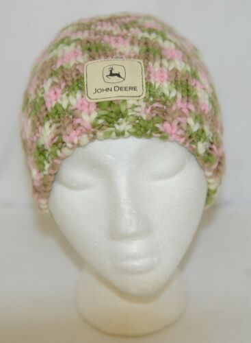 John Deere LP67784 Green White Pink Brown Knitted Hat Acrylic