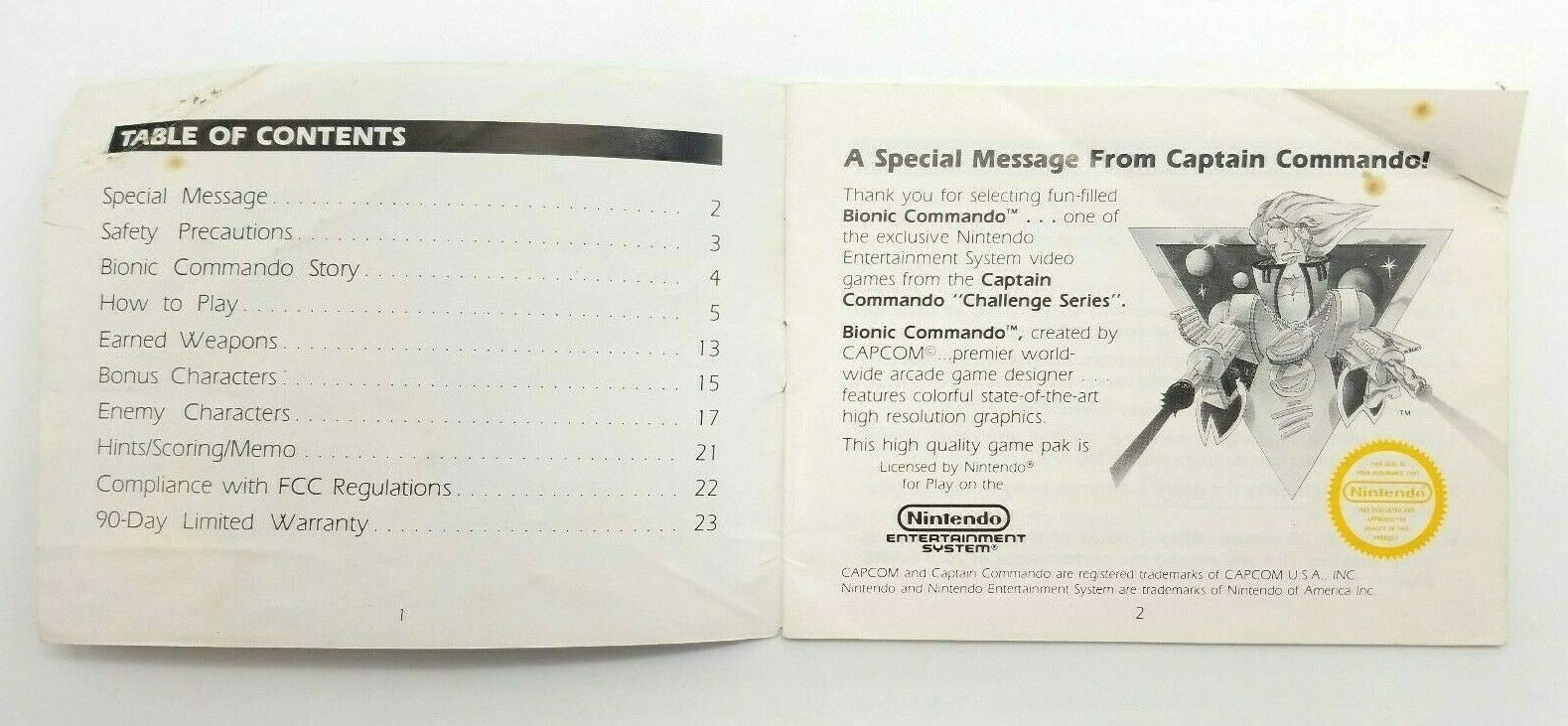 Bionic Commando Instruction Manual NES Nintendo Entertainment System image 2