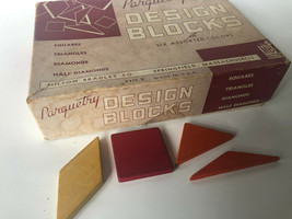 Vintage Milton Bradley 8439 Parquetry Design Blocks Squares Triangles Di... - $18.00