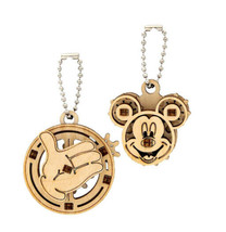 New Disney Parks UGears Mickey Mouse 2 Wooden Puzzle Keychains Mechanical Puzzle - $14.84