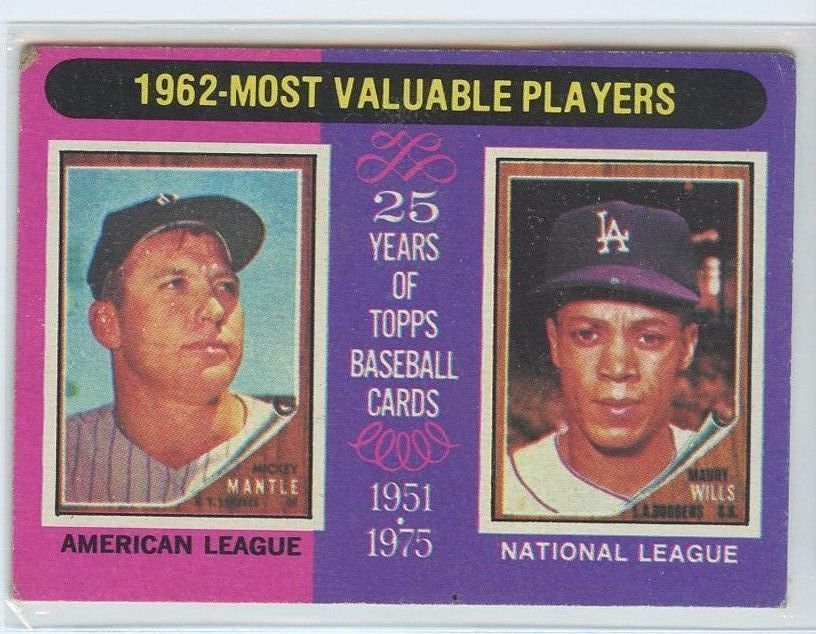 MICKEY MANTLE/MAURY WILLS 1975 Topps #200 Yankees/Dodgers EXCELLENT (EX)