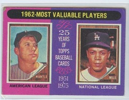 MICKEY MANTLE/MAURY WILLS 1975 Topps #200 Yankees/Dodgers EXCELLENT (EX) - $7.99