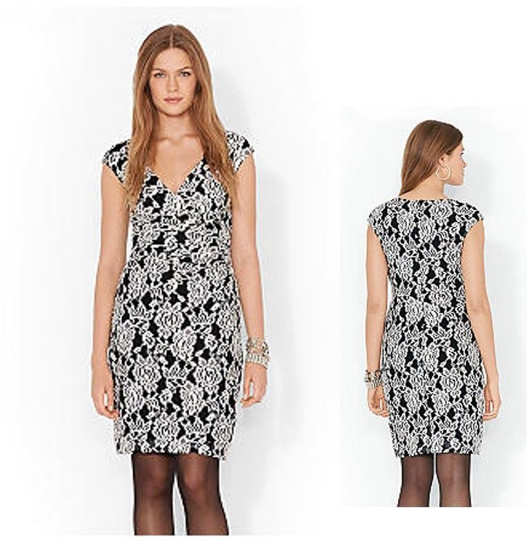 Primary image for NEW Ralph Lauren Stunning Black White Floral Lace V-Neck Cocktail Dress 14