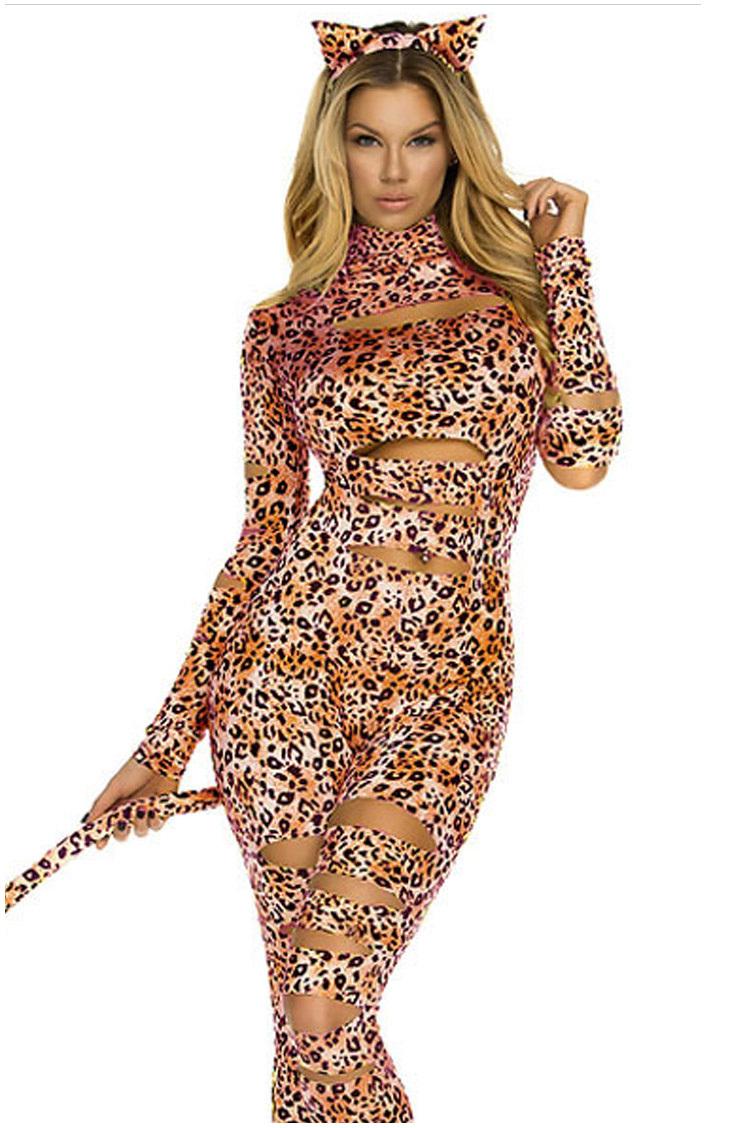 Women  Leopard Jumpsuit Catsuit Bodysuit Costumes With Long Tail