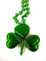 6 Green Heart Clover Shamrock St Patrick's Day Mardi Gras Bead Necklace - €20,70 EUR