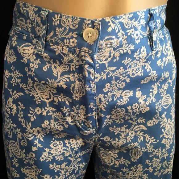 Ralph Lauren blue & ivory floral print cotton capri pants 2P 2 Petite