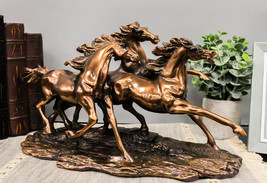 Rustic Western Wild And Free 3 Running Stallion Horses Racing The Wind F... - $77.99