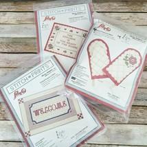 Shirley Botsford Stitch Prints Stamped Kits Lot of 3 Samplers Oven Mitt ... - $24.74
