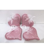 """Valentines Day Shabby Chic Pink Glitter Hearts 3"""" Ornaments Decorations ... - $22.99"""