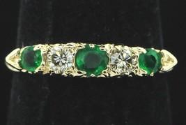 Designer 14K Yellow Gold Gem Emerald and Diamond Band (Size 6 3/4) - $450.00