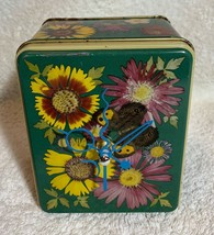 Chrysanthemum flowers butterfly Aluminum Storage Tin Music box Desk Quartz Clock image 2