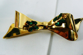 VINTAGE CORO GOLD PLATE STERLING SILVER EMERALD GREEN MARQUIS CUT STONES... - $41.18