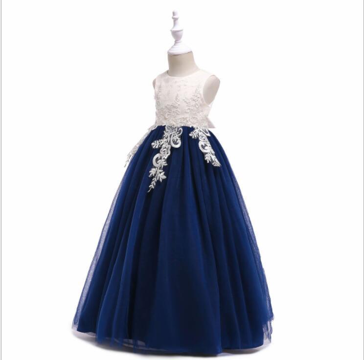 Flower Girl Dress Appliqued Tulle A Line Dance Skirts Vintage Children Party  image 4