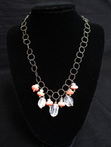 Necklace Circle Chain Beaded Frontal Clear Mauve Pink Crackle Vintage Je... - $8.90