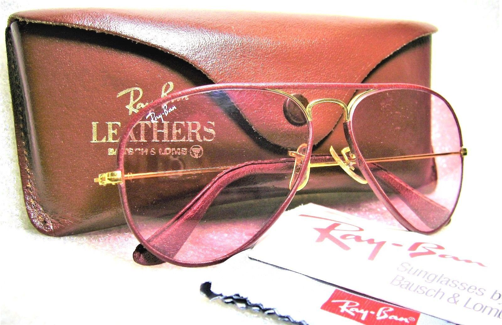 aa97fcb9b5 Ray-Ban USA Vintage B L Aviator Leathers L0034 Rose-Changeables Mint  Sunglasses
