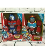 (2) Transformers 10 inch Rescue Bots Optimus Prime Heatwave Mega Mighties Figure - $23.75