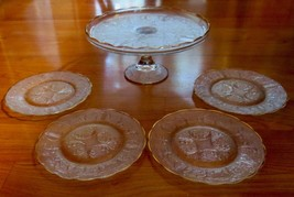 """Jeanette Glass Harp 10"""" Cake Stand and 4 Matching Dessert Plates - $39.99"""