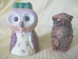 2 OWL FIGURINES 1 PORCELAIN BELL ANIMAL BIRDS CERAMIC VTG DECORATIVE COL... - $8.00