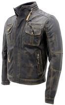 Cafe Racer Antique Retro Biker Multi Pockets Distressed Brown Leather Jacket image 3