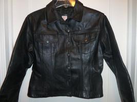 STEFANEL Black Leather Jacket, Fully Lined, Size M, Pre-owned - $62.99