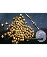 100 4mm Granulacion Baádo en Oro Amarillo Metal Cuentas Separadoras Joyería - $1.75