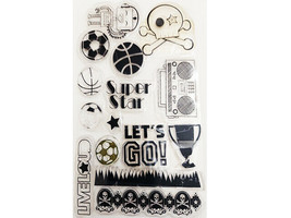 Super Star Clear Stamp Set, Sports, Robots, Boom Box and More
