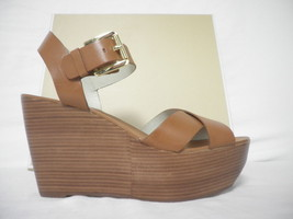 Michael Kors Size 9.5 M Peggy Luggage Leather Open Toe Wedges New Womens Shoes - $127.71